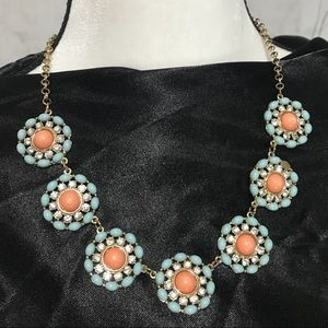 NWOT Statement turquoise/pink rhinestone necklace